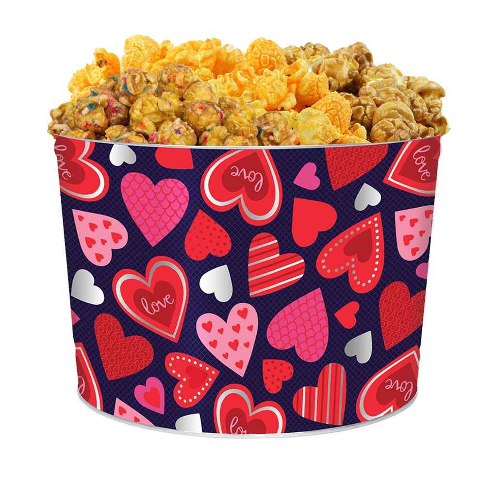 Happy Hearts 2-Gallon Popcorn Tin