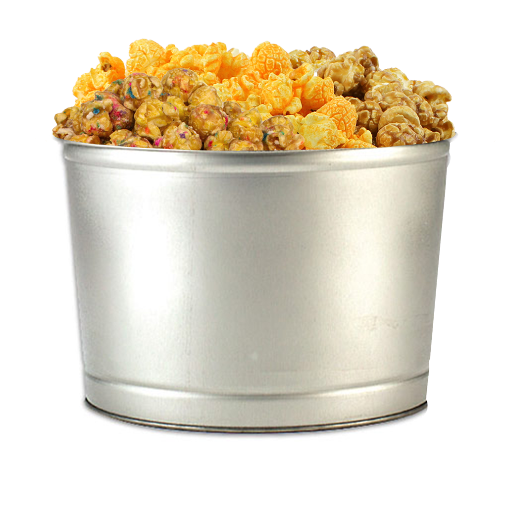 Silver 2-Gallon Popcorn Tin
