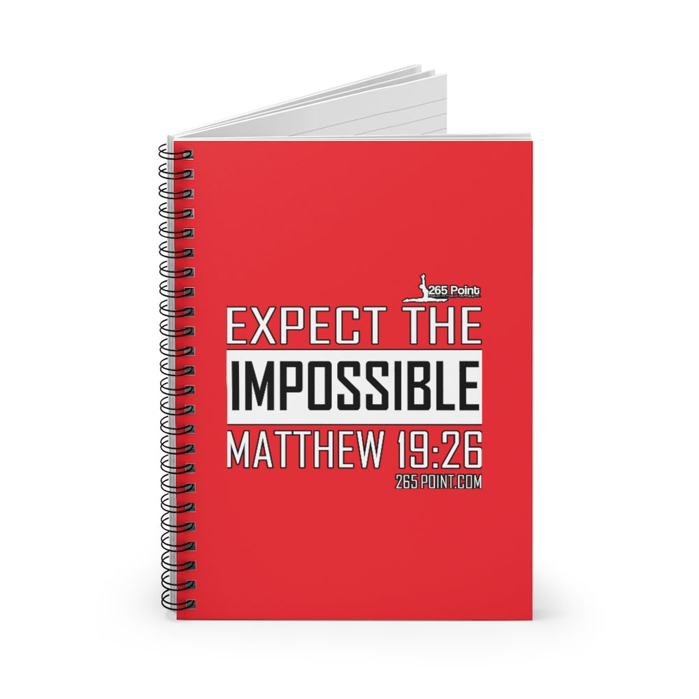 Expect the Impossible Spiral Notebook - Ruled Line - Red