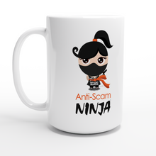 "Load image into Gallery viewer, ""Anti-Scam Ninja"" White Mug 15oz - SCARS Design - Worldwide Product - SCARS Company Store"