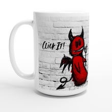 "Load image into Gallery viewer, ""Click It"" Angels White 15oz Ceramic Mug - SCARS Design - Worldwide Product"