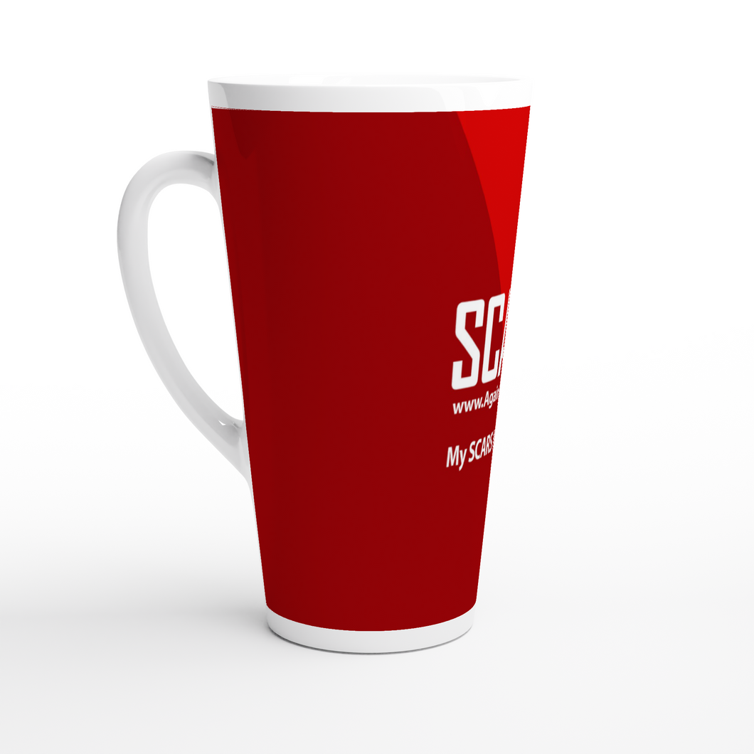SCARS Full Red - On White Latte-Style 17oz Ceramic Mug - SCARS Design - Worldwide Product