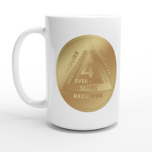Load image into Gallery viewer, 4 Ever Free - White 15oz Ceramic Mug - SCARS Recovery Program - SCARS Design - Worldwide Product