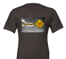 Load image into Gallery viewer, #NeverAgain / Scam Alert - Premium Unisex V-Neck Unisex T-shirt  - SCARS Design - Worldwide Product