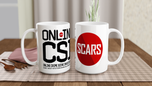 Load image into Gallery viewer, O-CSI - Online Crime Scene Investigation - White 15oz Ceramic Mug - SCARS Design - Worldwide Product