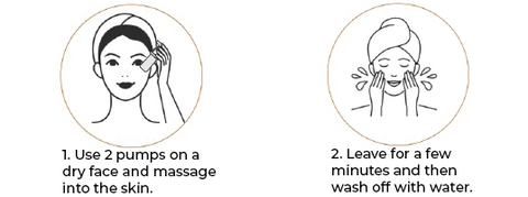 •	Step 1: Use 2 pumps on a dry face and massage into the skin. •	Step 2: Leave for a few minutes and then wash off with water.