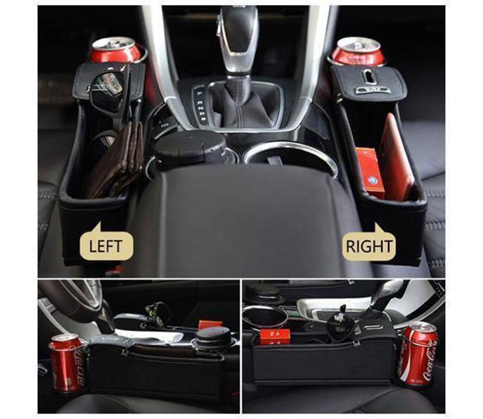 Multifunctional Car Seat Organizer - Storage Box Car Organizer Seat Gap PU Case Pocket Car Seat Side Slit for Wallet Phone Coins Cigarette Keys Cards For Universal - Blastiful
