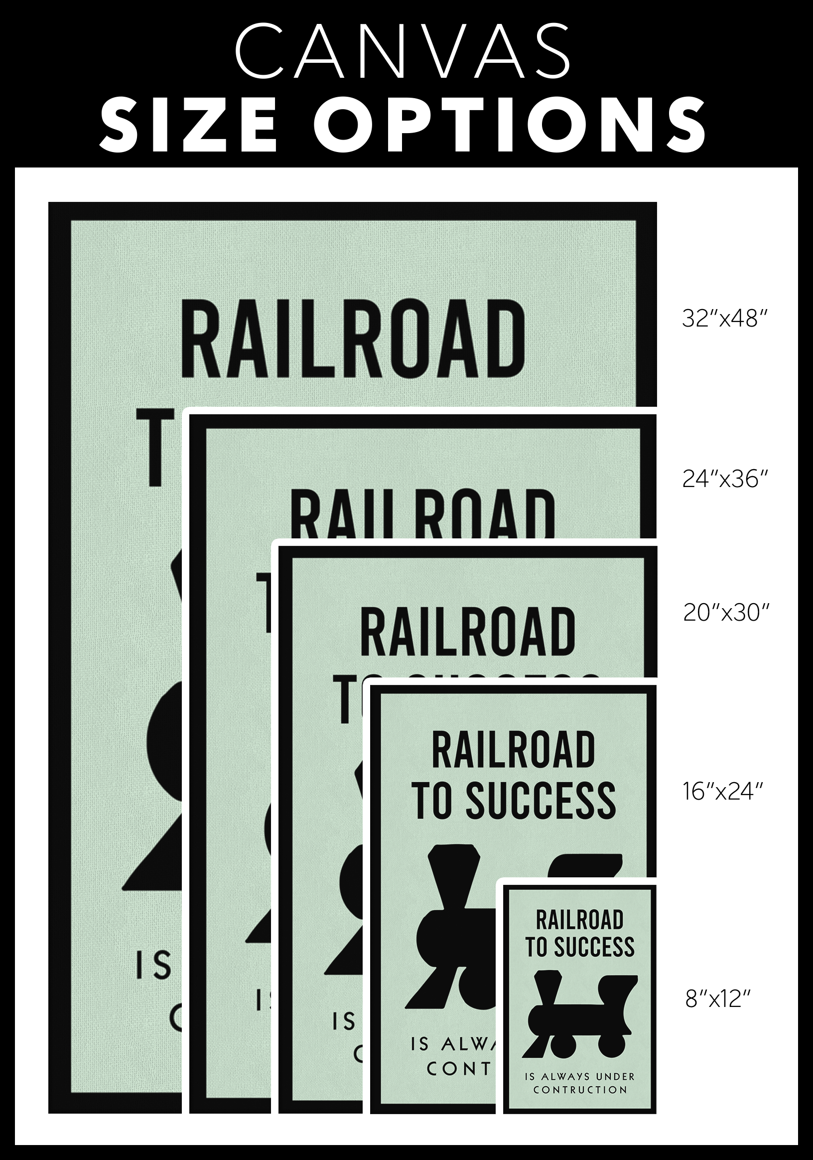 Railroad To Success Monopoly Office Home Wall Art Painting Canvas - Canvas Wall Art 2 - Blastiful