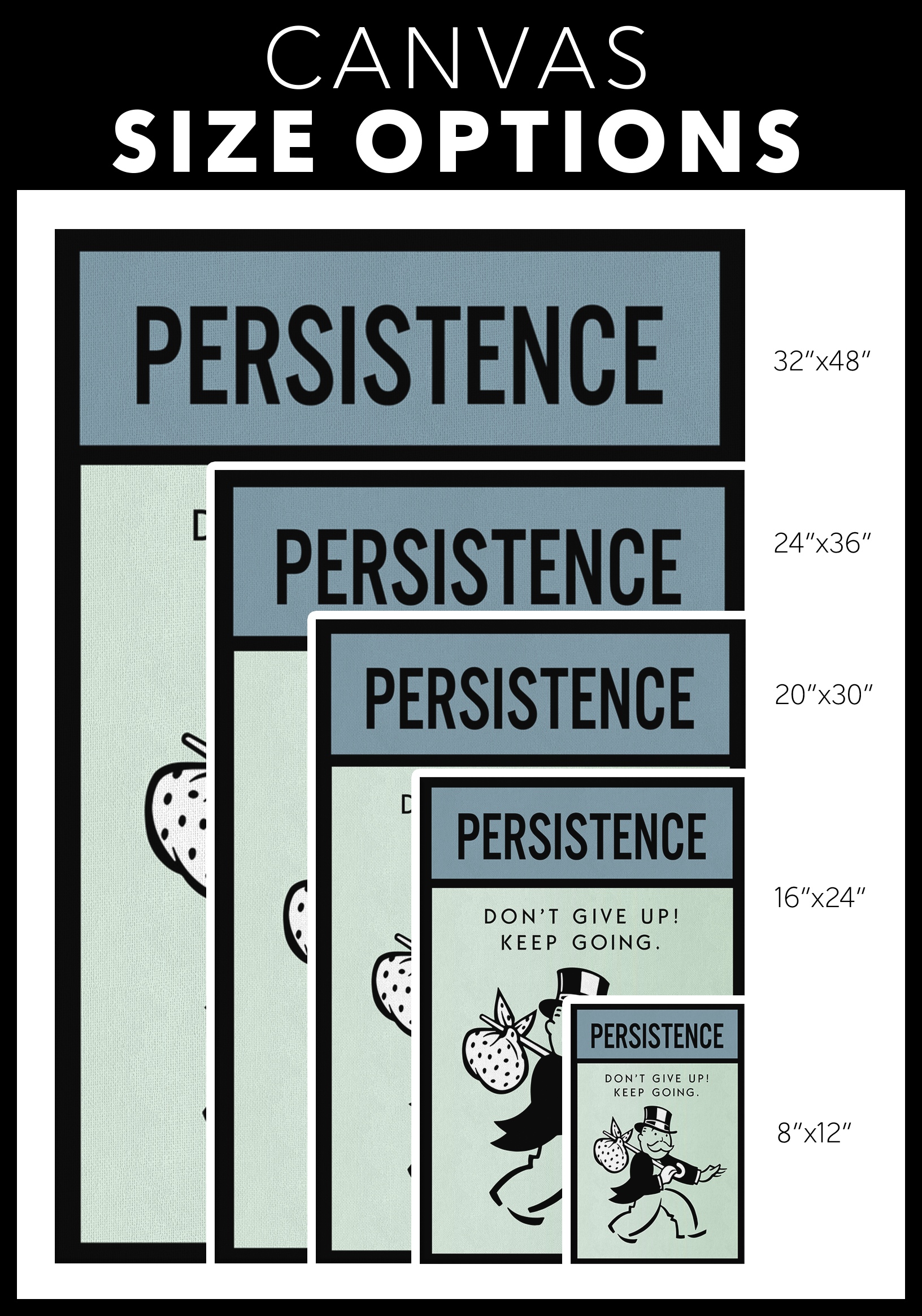 Persistence Monopoly Office Home Wall Art Painting Canvas - Canvas Wall Art 2 - Blastiful