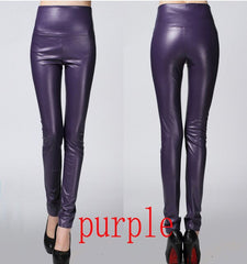 2019 Autumn winter Women legging skinny PU leather pencil Leggings slim faux Leather Pants female fashion thick fleece trousers