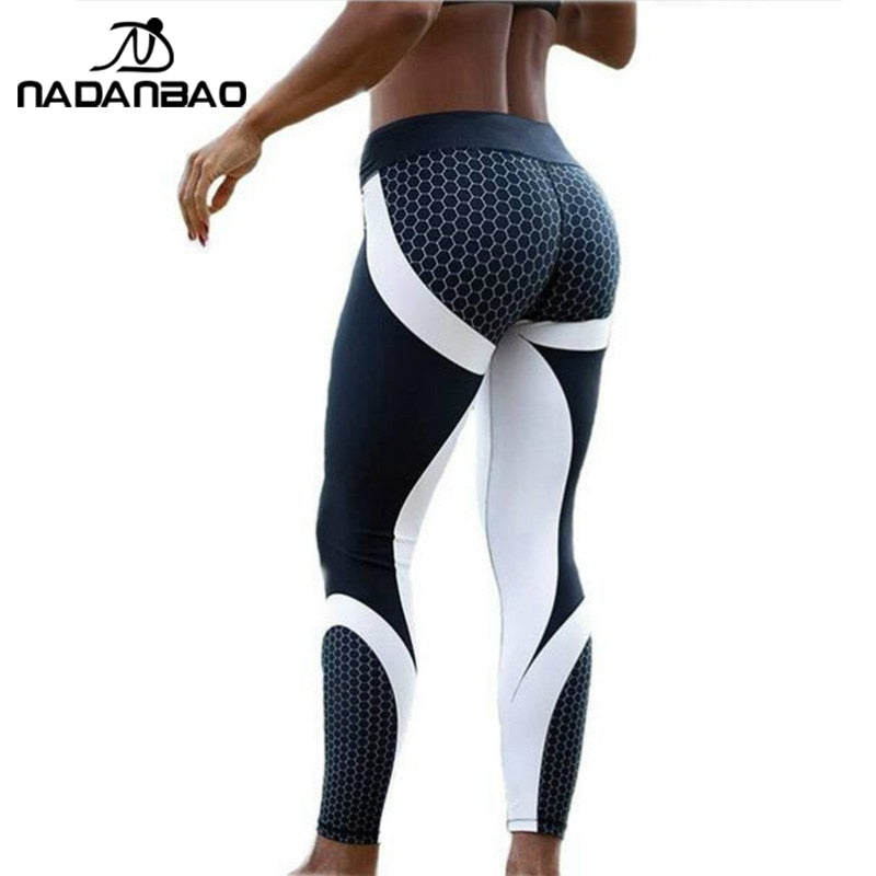 NADANBAO New Arrival Pattern Leggings Women Printed Pants Work Out Sporting Slim White Black Trousers Fitness Leggins