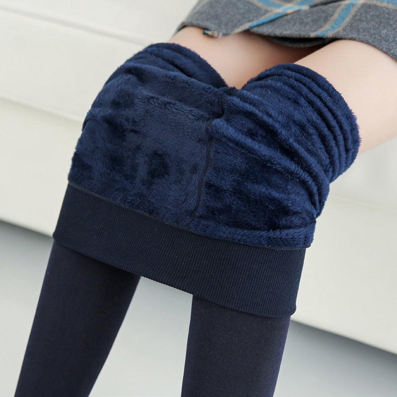 NORMOV Winter Women Cashmere Leggings Super Elastic Slim Warm Leggings High Quality Knitted Pants Thick Velvet Leggins Plus Size