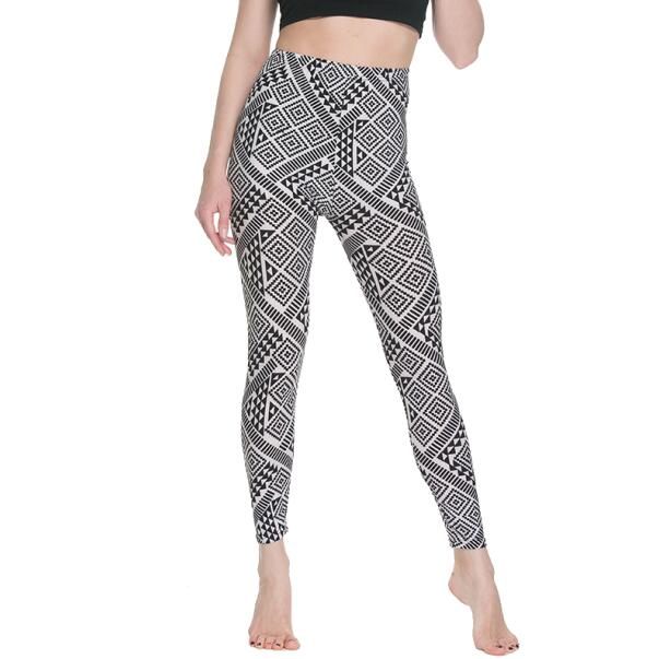Women Floral patterned Printed Leggings Fashion Slim elastic Pants Black white graffiti trousers