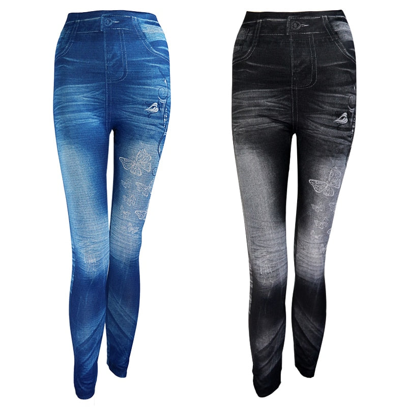 New 2019 Women Autumn Jeans Leggings Skinny Slim Thin High Elastic Waist Pencil Pants Black Denim Leggings For Women Plus Size
