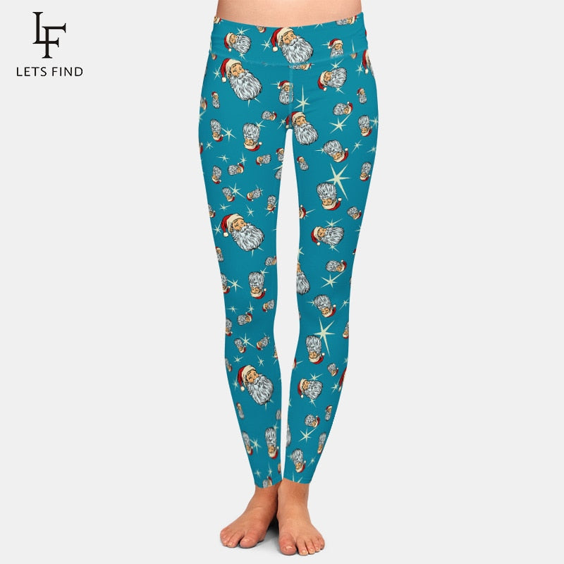 LETSFIND New Women's Cartoon Pattern Christmas Leggings Santa Claus Printing Pants High Waist Workout Leggings Plus Size