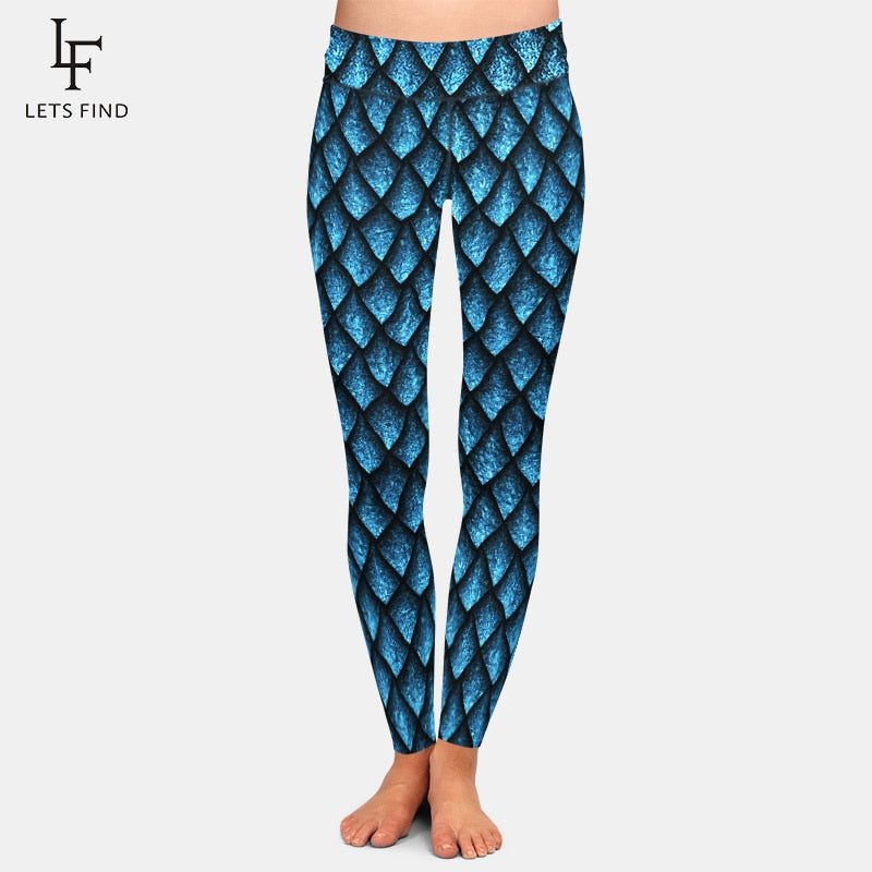 2019 New Fashion Fish Scales Pattern Leggings High Quality Plus Size Fashions  Milk Silk Women Leggings Hot Sale