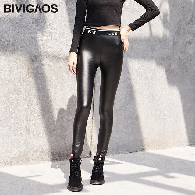 BIVIGAOS 2019 Autumn Winter Womens Fashion Letters Knit Waist Shiny Leather Leggings Slim Elastic Warm PU Leather Pencil Pants