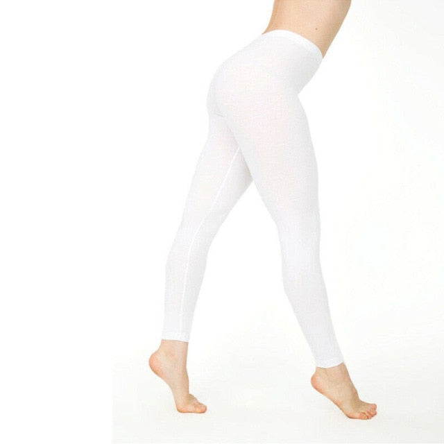 Autumn Fashion Women Solid Strentch Leggings Cotton Blend Soft High Waist Leggigns Solid Color Skinny Bottoms Black White Gray