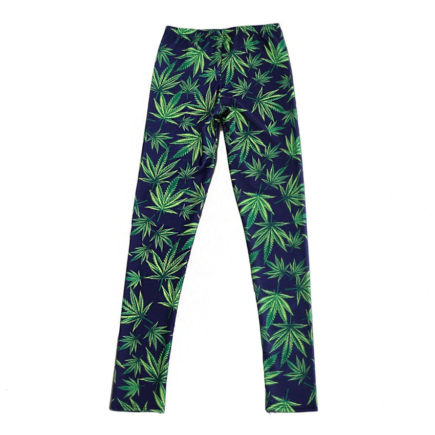 Sexy Elastic Pants 3D Digital Printing Blue-green leaves Pattern Women Leggings 7 sizes Fitness Clothing Free Shipping