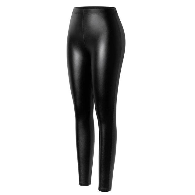 Black Leather Leggings High Waist Fashion Slimming Women Seamless Sexy Fitness Legging Casual Pencil Pants