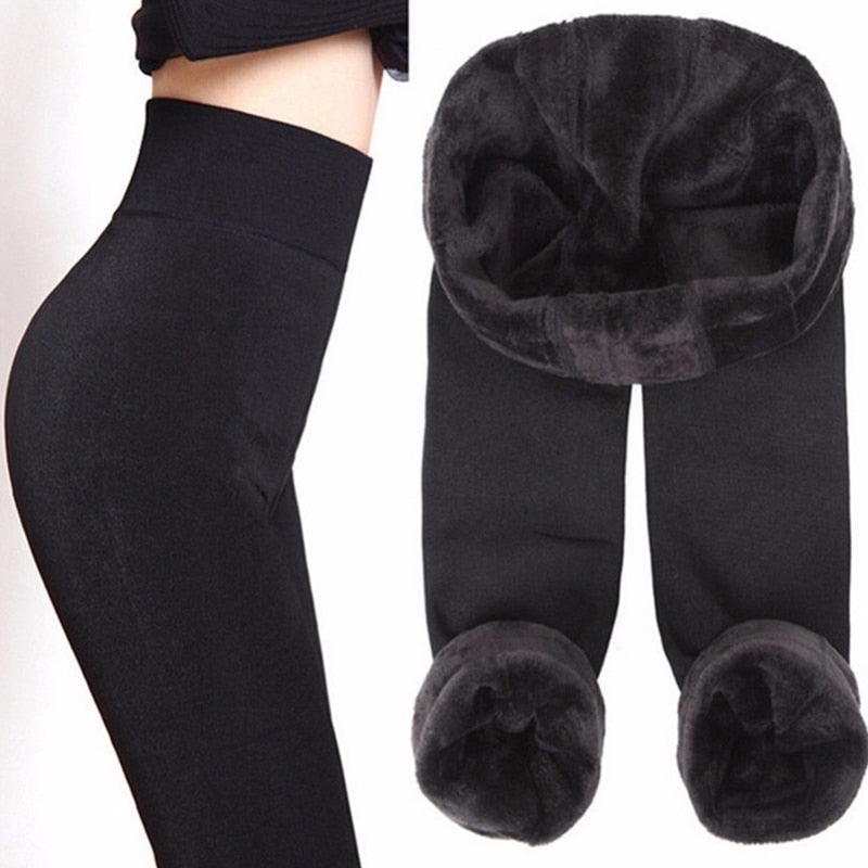 NORMOV Solid Thick Women Leggings Winter Velvet High Waist Elastic Push Up Polyester Leggin Skinny Plus Size Leggings