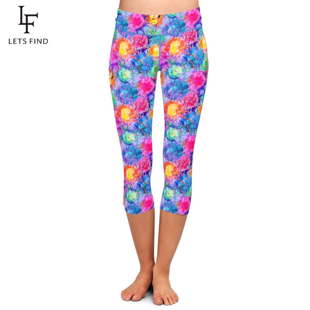 LETSFIND Super Soft High Waist Leggings Oil Painting Pattern Digital Print Leggings Mid-Calf Stretch Pants Plus Size