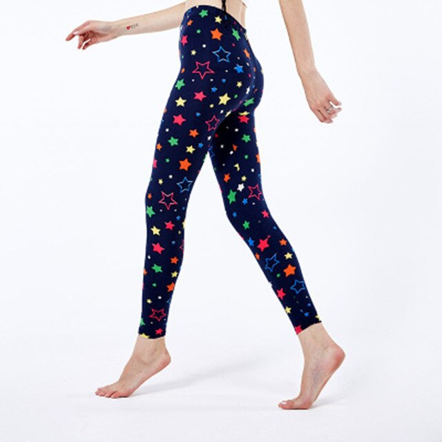 2019 New Fashion Colored Stars Pattern Digital Printed Skinny Breathable Leggings Gifts For Ladies
