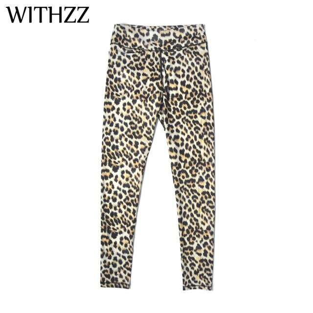WITHZZ Animal Leopard High Waist Quick-drying Radiating Leggings Women Leggins Legins Jeggings Tayt Athleisure Sportleggings