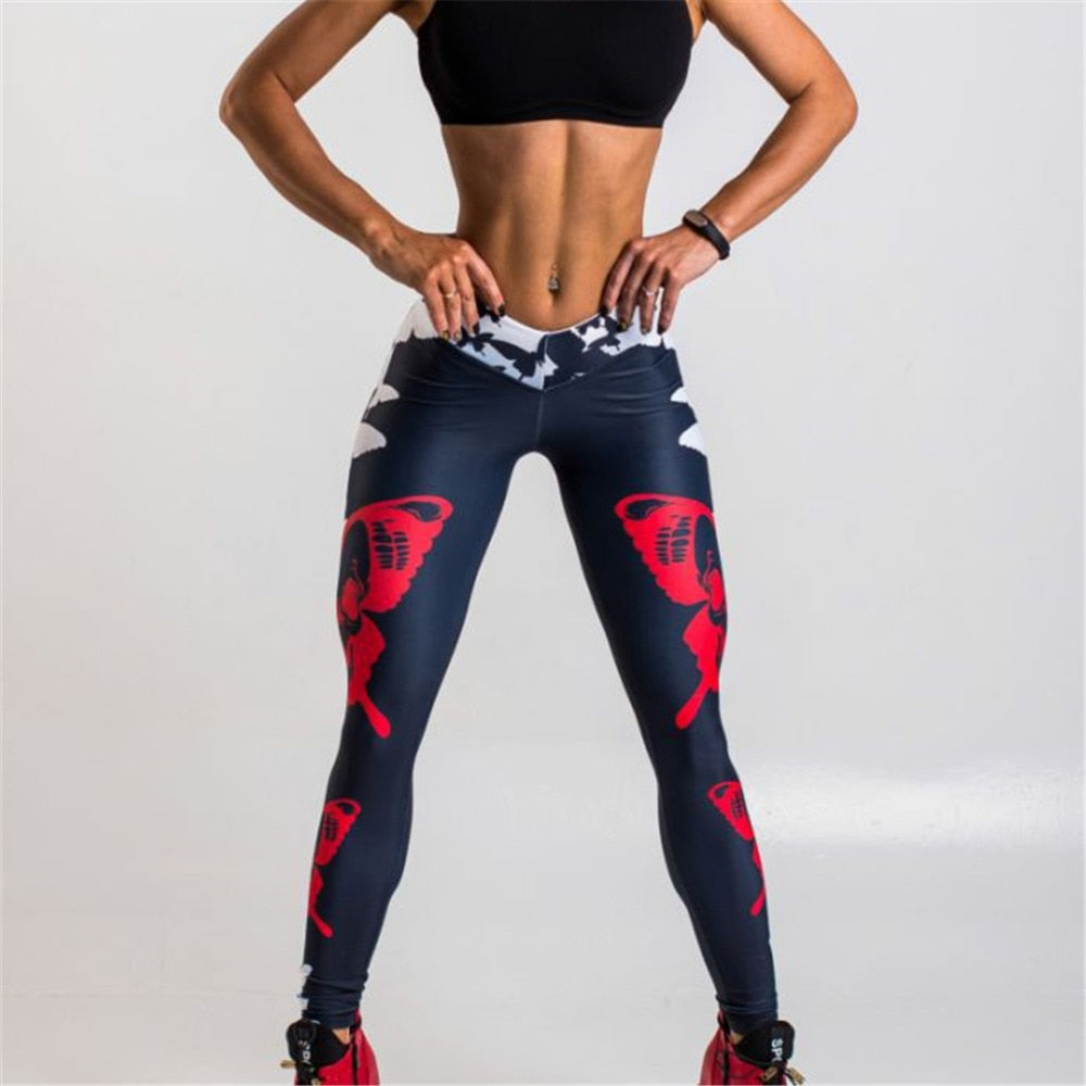Sexy Butterflies Pattern Digital Printing Push Up Leggings For Ladies Black Elastic Force Fitness High Waist Leggings For Ladies