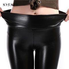 NORMOV S-5XL Women Faux Leather Leggings Winter Keep Warm High Waist Jegging Ankle-length Large Szie Plus velvet Female Legging