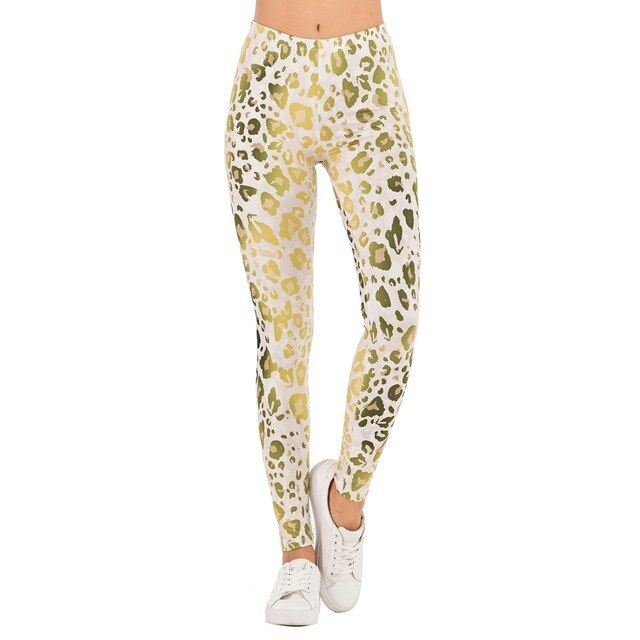 Brands Women Fashion Legging Gold Fluorescence Leopard Printing ombre leggins Slim legins High Waist Leggings Woman Pants