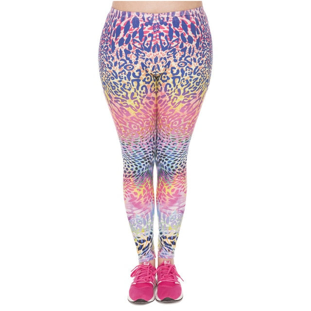 Fashion Large Size Leggings Color Leopard Printed High Waist Leggins Plus Size Trousers Stretch Pants For Plump Women