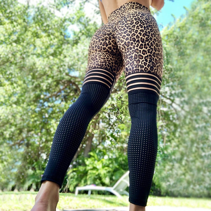 Fall 2020 Women Print Leopard sexy Leggings Black White Mesh Sporting Leggins  Activewear Women Exercise Fitness Legging
