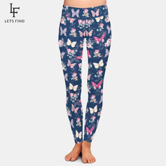 LETSFIND Super Soft Milk Silk Print Rose with Butterfly Pattern High Waist Leggings High Quaility Fitness Plus Size Leggings