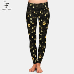 Brands Fashion High Waist Women  Black Leggings Dog Paw Pattern Casual Milk Silk Leggings Hot Sale