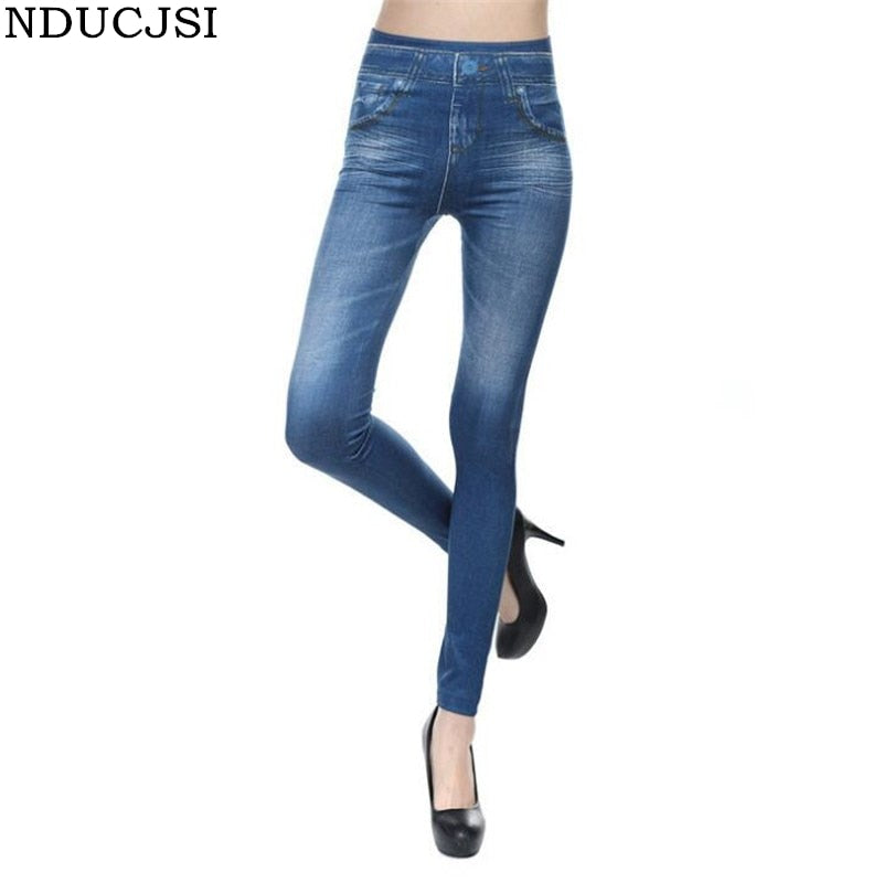 NDUCJSI Imitation Cowboy Denim Jeans Leggings For Women High Waist Pants Pocket Cashmere Slim Fitness Leggings Plus Size Pants