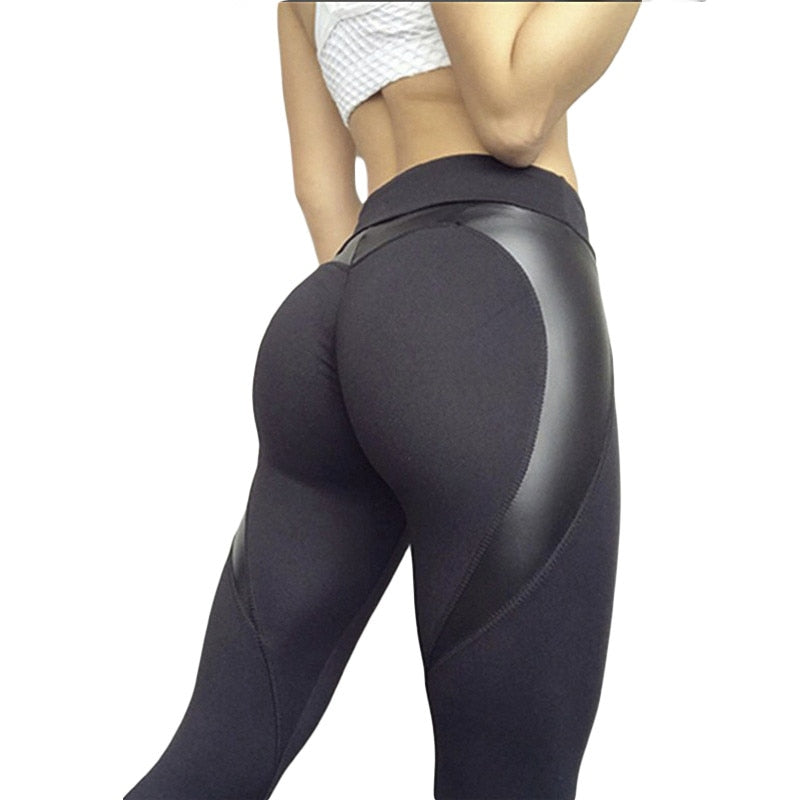 SVOKOR Leather stitching Leggings Women Polyester High Waist Black Heart Pants Keep Slim Girl Legging