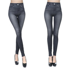 Jeggings Jeans For Women High Waist Warm Winter Leggings Fleece Lined Thermal Pants With Pocket Printed Fake Denim Plus Size 3XL