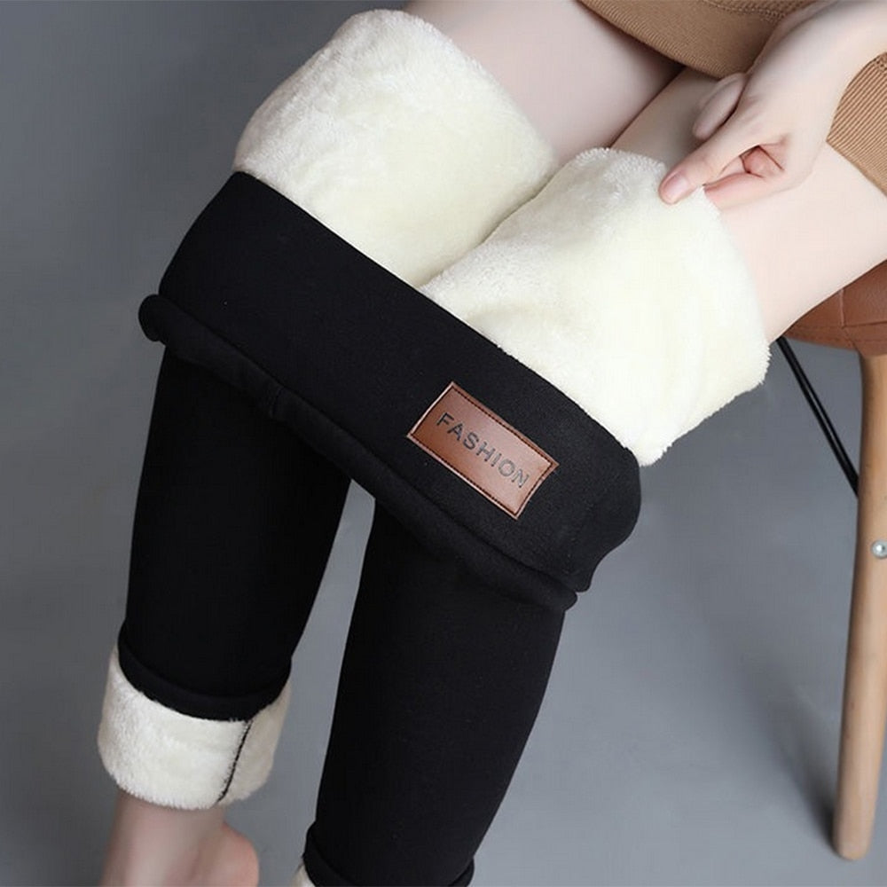 Winter Warm Pants 2019 Thicken Skinny Velvet Casual Wool Feece Trousers High Waist Large Size Women Leggings
