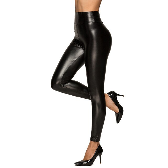 Autumn and Winter High-waisted PU Leather Pants Leather Leggings Ultra-stretch Slimming WOMEN'S Skinny Pants Ankle-length