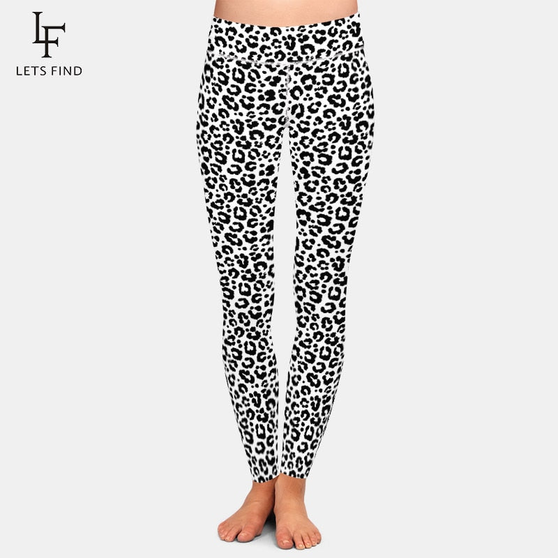 LETSFIND Sexy 3D Black and White Leopard Grain Digital Printing Leggings New High Waist Plus Size Women Elastic Slim Leggings