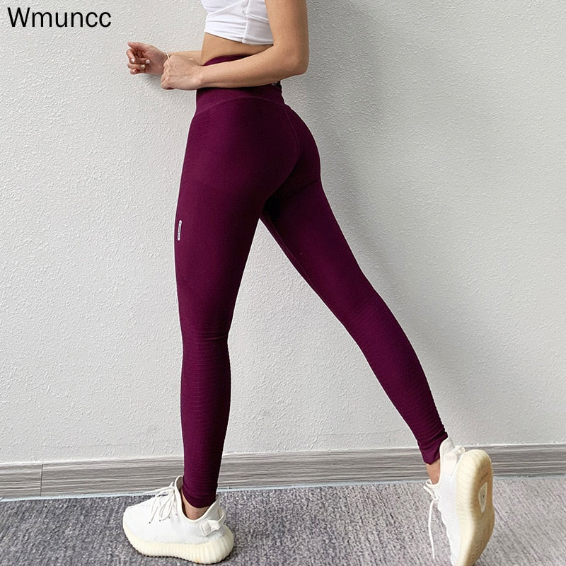 Wmuncc High Waist Sports Leggings Tummy Control Yoga Pant Fitness Seamless Tight Running Gym Trousers Women Hip Lifting