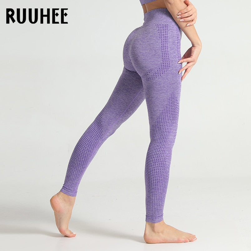 RUUHEE Seamless Leggings Women High Elastic Fitness Sport Gym Yoga Pants Slim Running Tights Sportswear Sports Seamless Pants