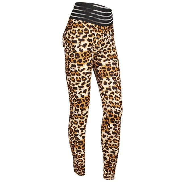 Goowrom New Sexy Leopard Leggings Women High Waist Leopard Elastic Leggings Push Up Workout Fitness Slim  Leggings