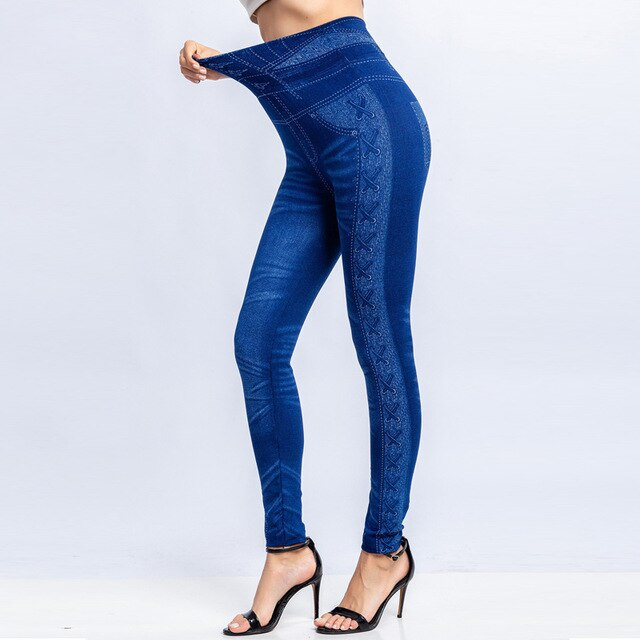 High Waist Jeans Leggings Women Stretch False Denim Pants Push Up Printed Jeggings Female Plus Size 3XL Clothing Summer 2020 New