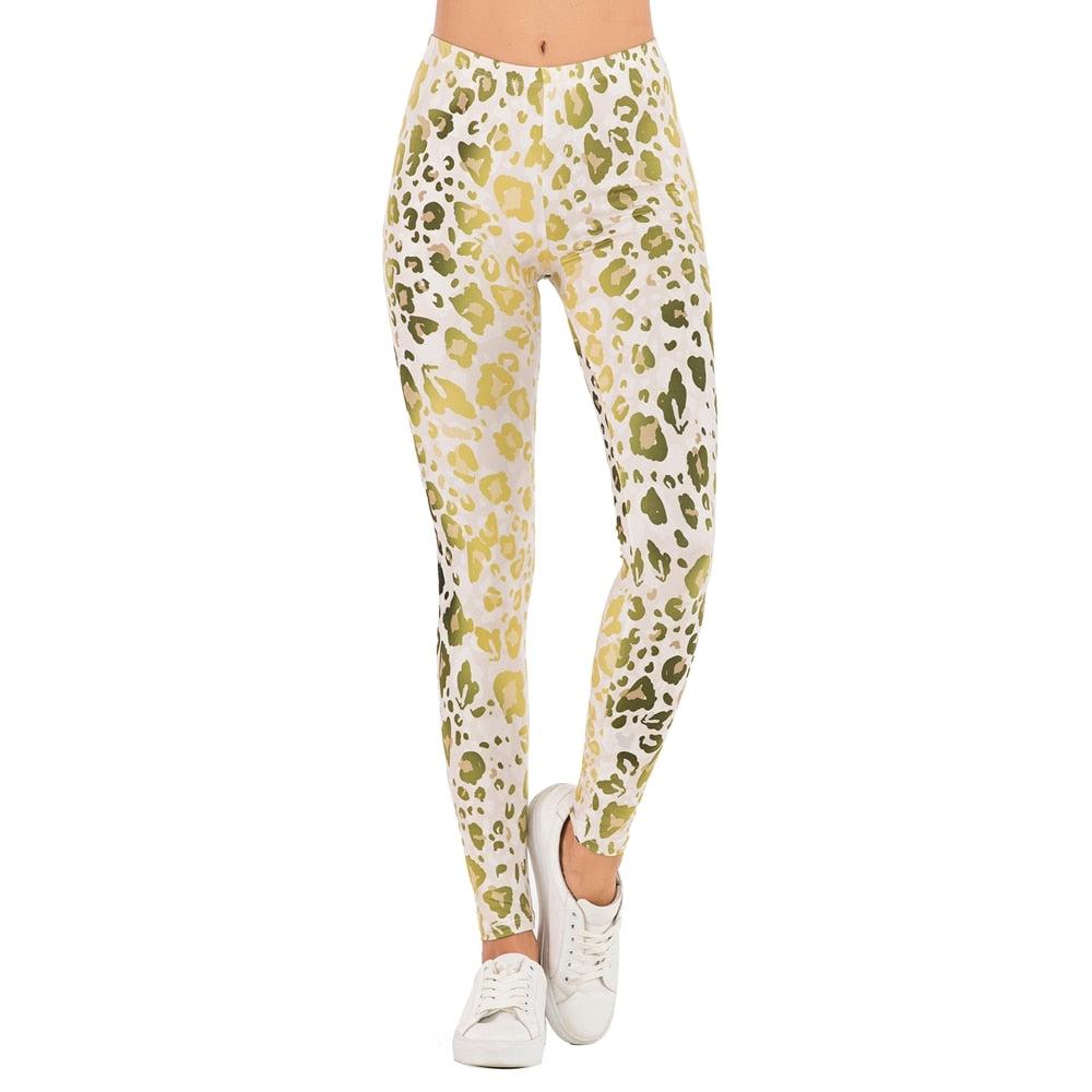 leggins Slim legins High Waist Leggings Woman Pants Women Fashion Legging Gold Fluorescence Leopard Printing ombre