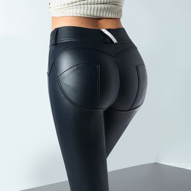 PU Leather Black Pants Elastic Waistline Hips Push Up Sexy Women's Skinny Pencil Pants