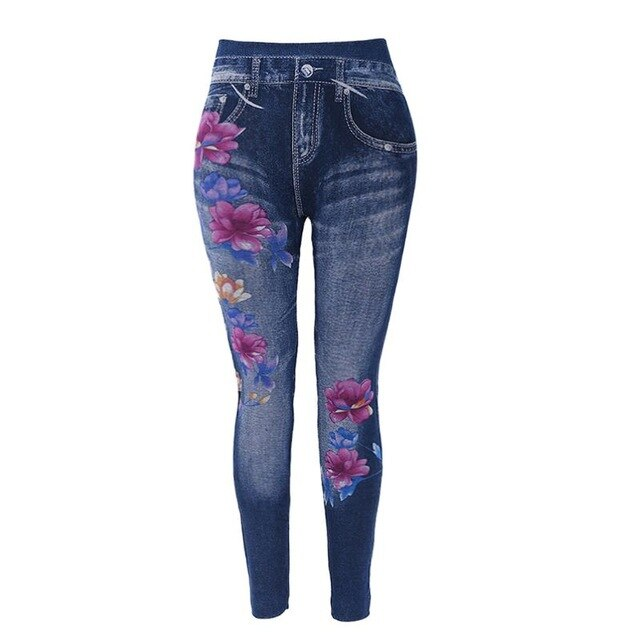 Women Floral Print Elastic High Waist Slim Leggings 2019 Lady Casual Imitation Faux Denim Jeans Pencil Pants Leggings S-3XL