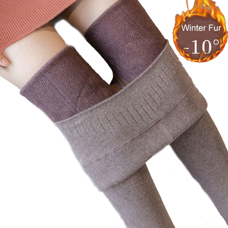 Winter Lamb Cashmere Warm Fur Leggings Women Velvet Thicken Warm Winter Leggings Women's Plus Velvet  women Trousers