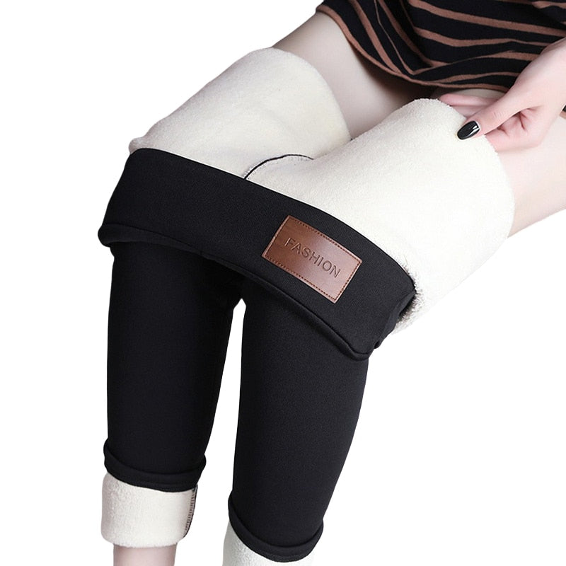 CHRLEISURE Black warm pants winter skinny thick casual wool fleece Trousers Lambskin Cashmere Pants For Women leggings